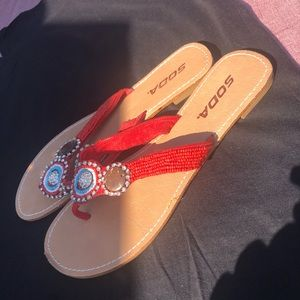 New Soda sandals in red size 9 w/ bling